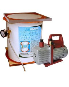 Vacuum Chamber with Vacuum Pump - 4-gal. vacuum chamber for deir airing molds and bubble free castings